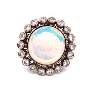 Platinum Diamond Opal RingÊ