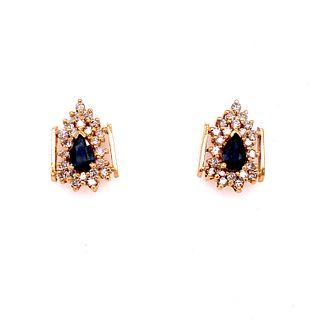18k Diamond Sapphire EarringÊ