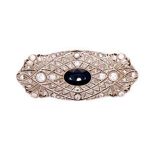 Platinum Sapphire Diamond Plaque Brooch