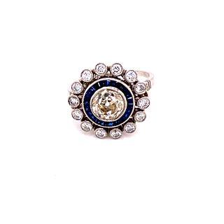 Art Deco Platinum Diamond Sapphire Target RingÊ