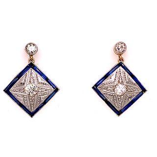 Art Deco Diamond 18k Sapphire Earrings