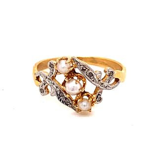 1930Õ 18k Diamond Pearl Ring