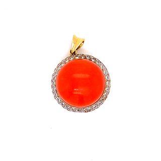 18k Coral Diamond PendantÊ