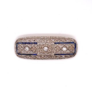 1930Õ Platinum Gold Diamond & Sapphire Brooch