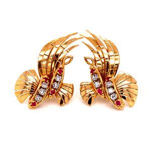 RETRO 18k Diamond Ruby EarringsÊ