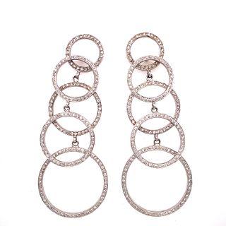 18k Diamond Long Circle Earrings