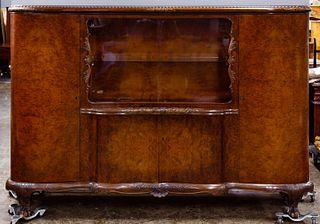 Burled Mahogany Sideboard Hutch