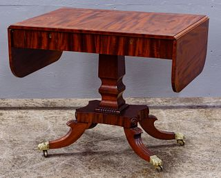 Federal Style Mahogany Drop Leaf Console Table