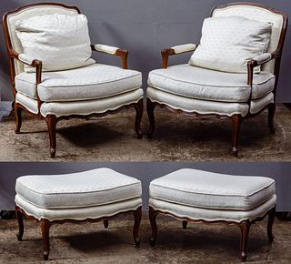 Baker Upholstered Chair and Ottoman Collection