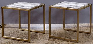 Marble and Metal End Tables