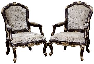 Marge Carson Louis XV Style 'Claudette' Arm Chairs