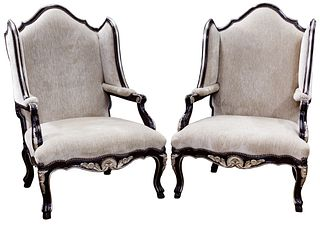 Marge Carson Louis XV Style 'Palais' Wing Chairs