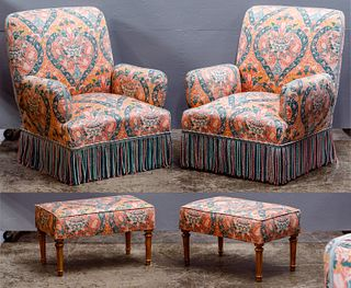 Toiles de Mayenne Floral Upholstered Chair and Ottoman Collection
