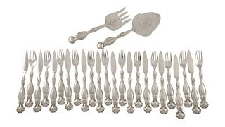 Boxed Set of Georg Jensen Fish Service 55 For Twelve With Matching Serving Set