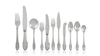 Vintage Georg Jensen Beaded Silverware Service For Ten