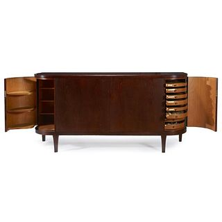 Important Georg Jensen Silverware Service in a Fitted Art Deco Sideboard
