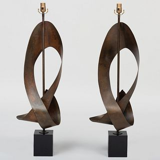 Pair of Harry Balmer Metal and Ebonized Table Lamps