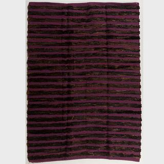 Aubergine and Brown Striped High Low Pile Carpet