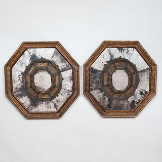 Pair of Rare Spanish Giltwood and Silver-Metal-Mounted Repoussé Octagonal Mirrors, Maison Jansen