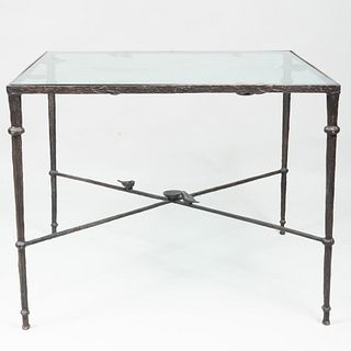 Diego Giacometti Style Wrought-Iron and Glass Top Table