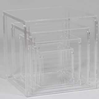Set of Four Alessandro Albrizzi Perspex Nesting Cube Tables