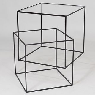 Modern Metal and Glass Low Table