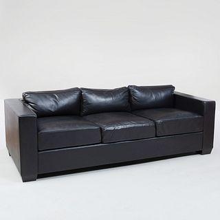 Black Leather Three Seat Sofa