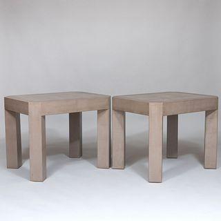 Pair of Karl Springer Faux Snakeskin Leather Tables