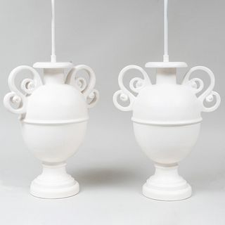 Pair of Sirmos White Plaster Urn Form Table Lamps