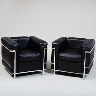 Pair of Le Corbusier for Cassina Chrome and Leather 'LC2' Chairs