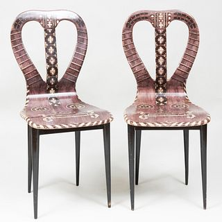 Pair of  Piero Fornasetti Lithographic Printed 'Lyre' Chairs