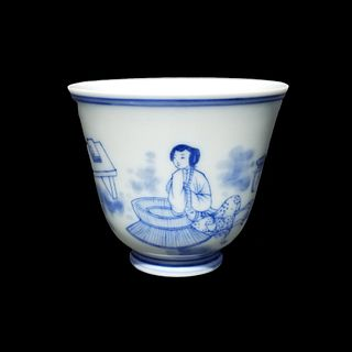 Chinese, Qing Dynasty Porcelain Wine Cup. Signed