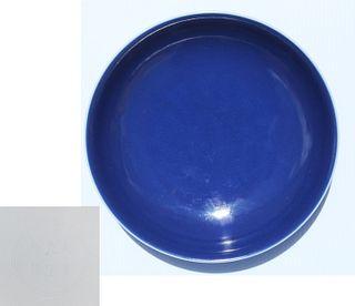 Chinese Deep Powder Blue Underglaze Dish, Marked