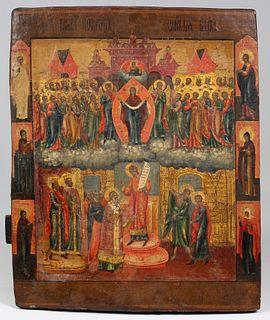 Important Early Antique Russian Icon, Pskov School