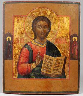 Antique Russian Icon, Christ Pantocrator