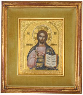 19th C. Gilded Russian Icon
