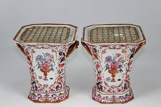 (2) 18th C. Chinese Export Lowestoft Vases