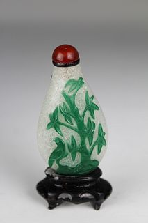 Late 18th C. Green Overlay Glass Snuff Bottle