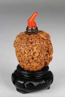 Qing Dynasty, Chinese Carved Walnut Snuff Bottle
