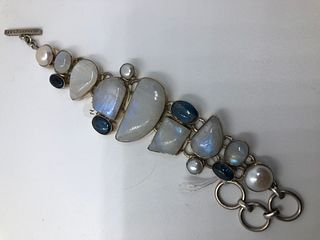 A Moonstone  Kynite & Pearl semi precious stone and Sterling silver Bracelet