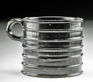 Greek Campanian Pottery Ribbed Mug w/ Art Loss