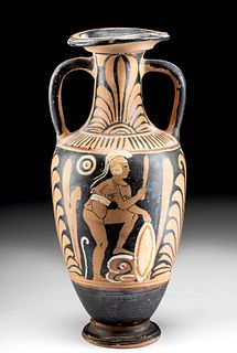 Greek Campanian Pottery Neck Amphora - Warrior