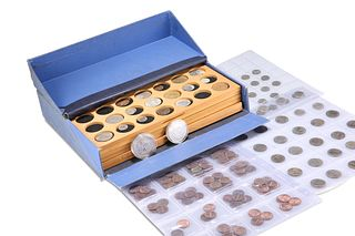 A COLLECTION OF COINS, comprising a large box containing a variety of coins