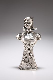 A CONTINENTAL SILVER-PLATED BUST OF A DUTCH GIRL, CIRCA 1900, cast with a w