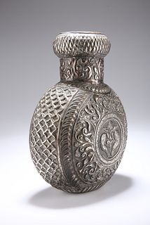 A PERSIAN WHITE-METAL FLASK, probably 19th Century, chased with scrolling f