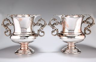 A PAIR OF SILVER-PLATED WINE COOLERS, each stamped KENART, of campana form,
