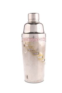 """A 1930'S SILVER-PLATED """"RECIPE"""" COCKTAIL SHAKER,?with revolving recipe band"""