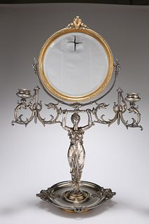 A LATE 19TH CENTURY FRENCH SILVER-PLATED DRESSING MIRROR, by Louis Moreau,