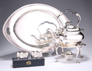 A WALKER & HALL SILVER-PLATED SPIRIT KETTLE ON STAND, with burner; together