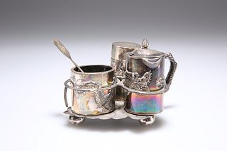 A CHINESE EXPORT CRUET SET, comprising three silver condiments, possibly by